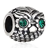 Hoobeads Wise Owl 925 Sterling Silver Charms with Austrian Crystal Fits Pandora Charms Bracelet (Emerald)