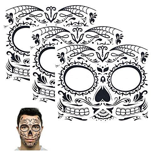 Sugar Skull Temporary Tattoo Day of the Dead Skull Face Design (3 Tattoo Kits) ()