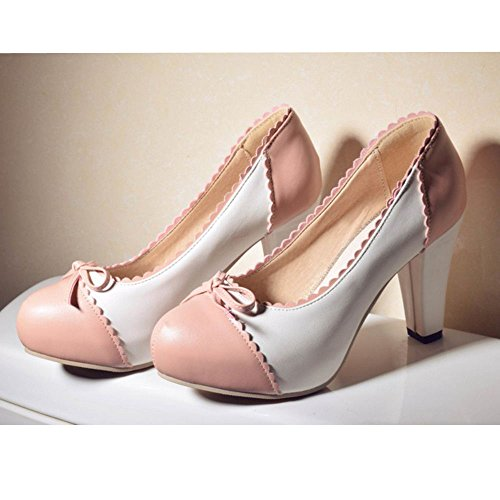 COOLCEPT Women Block High Heel Pumps Classic Ladies Sweet Dress Platform High Heel Shoes Red eQQYdJJl6