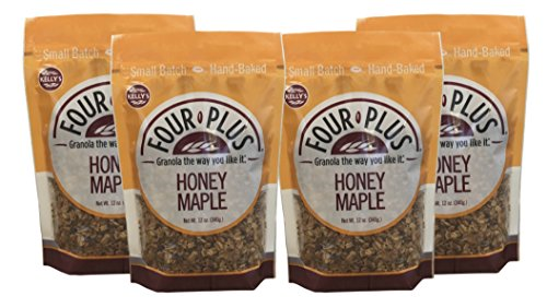 Kelly's Four Plus Honey Maple Granola, 12 oz, 4 count. Best Tasting Natural Maple Syrup Oats and Honey Granola Cereal, Healthy Crunchy Gluten-Free, Best Granola for Yogurt Topping, Breakfast Cereal