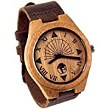 Viable Harvest Men's Wood Watch, Unique Sundial Design, Natural Bamboo , Genuine Leather and Gift Box