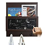 AHDECOR Magnetic Chalkboard Wall Hook Rack Organizer with Holder Rack for Magazines, Newspapyers and Books (Brown)