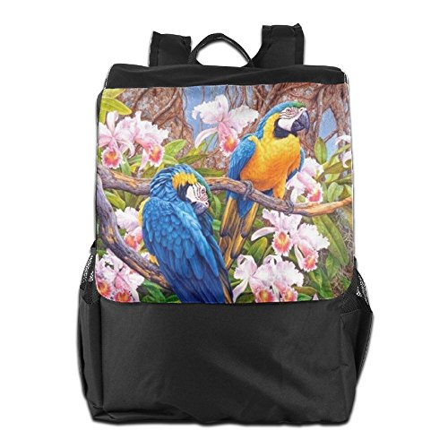 HSVCUY Personalized Outdoors Backpack,Travel/Camping/School-Colorful Parrot With Flowers Adjustable Shoulder Strap Storage Dayback For Women And Men