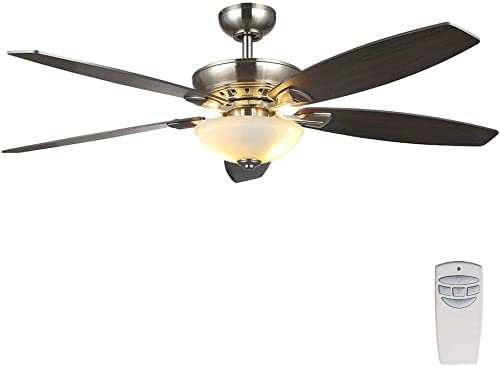 Home Decorators Collection Connor 54 Inch LED Satin Nickel Dual-Mount Ceiling Fan