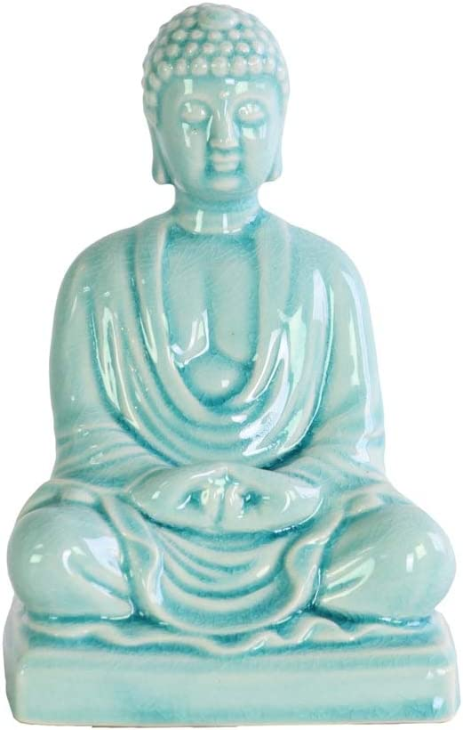 Blue Urban Trends Ceramic Sitting Buddha with Rounded Ushnisha and Resting Head on Knee SM Figurine