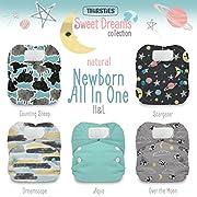 Thirsties Package, Natural Newborn All In One Hook & Loop, Sweet Dreams