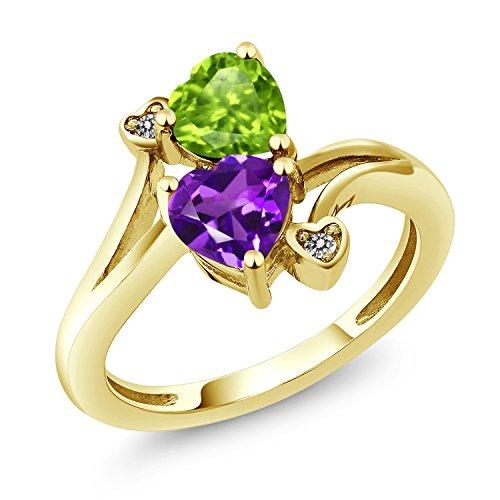 Gem Stone King 1.51 Ct Heart Shape Purple Amethyst Green Peridot 10K Yellow Gold Ring (Size 8) ()