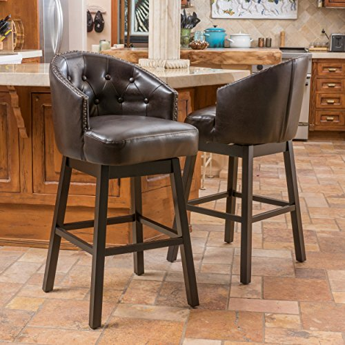 Backed Bar Stool - Affordable Christopher Knight Home Ogden Bonded Leather Swivel Backed Barstool (Set of 2) Bar Chair Brown
