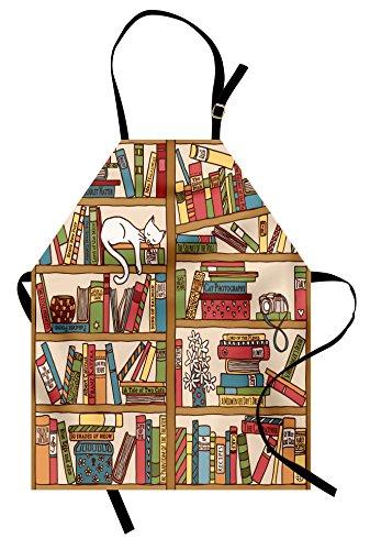Ambesonne Cat Apron, Nerd Book Lover Kitty Sleeping Over Bookshelf in Library Academics Feline Cosy Boho Design, Unisex Kitchen Bib Apron with Adjustable Neck for Cooking Baking Gardening, (Nerd Costumes Ideas Female)