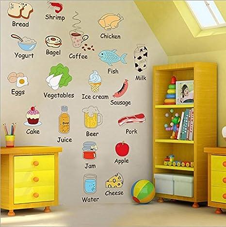 Dibujos animados, refrigerador, etiqueta, inglés, educación ...