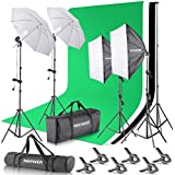 Neewer® 2.6M x 3M/8.5ft x 10ft Background Support System and 800W 5500K Umbrellas Softbox Continuous Lighting Kit for Photo Studio Product,Portrait and Video Shoot Photography