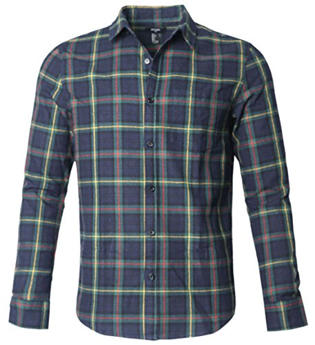 NUTEXROL Mens Long Sleeve Plaid Flannel Casual Shirts Checked Button Down Shirts C-Navy XXX-Large (3 Button Flannel)
