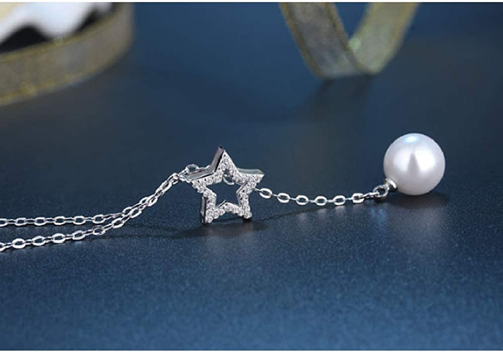 N//Y Silver Necklace 925 Sterling Silver Fashion Pearl Star Lady Pendant Necklace Jewelry Lady Gift Short Necklace