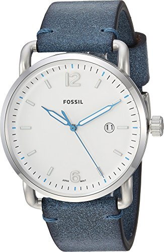 mmuter' Quartz Stainless Steel and Leather Casual Watch, Color Blue (Model: FS5432) (10 Atm Water)
