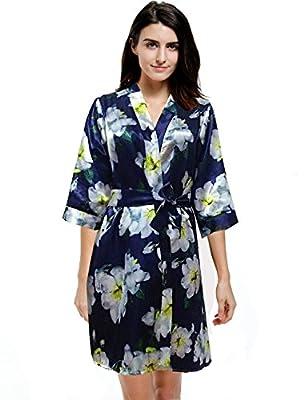 Mobisi Women's Floral Print short sleeve Kimono Robe v neck bathrobes