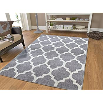 amazon com gray moroccan trellis 20x30 area rug carpet grey and