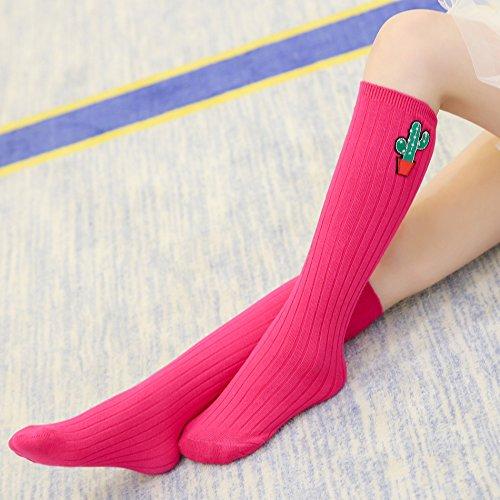 Chaussette Rouge Imprimé Haute 6 Rose Stocking En Motif 2 Acvip Socquette Ans De Coton Genou Paire 1 Pour Rayures Fille Enfant Cactus xPq1I