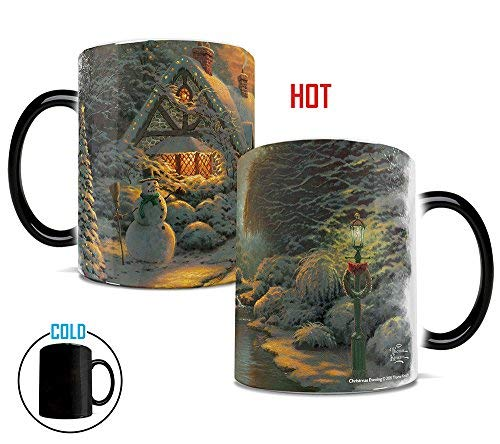 Morphing Mugs Thomas Kinkade Christmas Evening Painting Heat Reveal Ceramic Coffee Mug - 11 Ounces