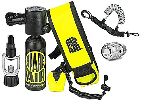 Submersible Systems (Submersible System Spare Air New 1.7CF Package for Scuba Divers With Dial Gauge Upgrade, Fill Adapter, Holster, Leash, and FREE Quick Release Coil Lanyard ($15.95 Value) …)