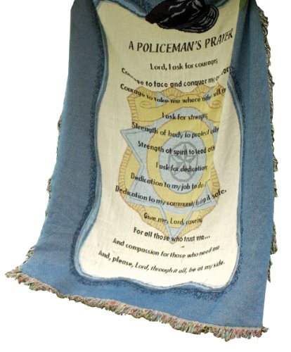 Police Throw - Manual Patriotic Collection 50 x 60-Inch Tapestry Throw, A Policeman's Prayer,