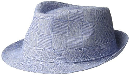 - Henschel Men's 100% Cotton Plaid Fedora with Self Band, Blue, X-Large