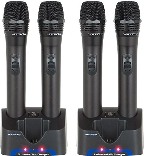 VocoPro UHR4 Rechargeable UHF Microphones (4 Wireless Mic System Case)
