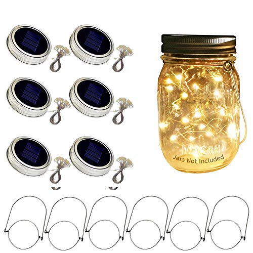 Hanging Set Light Solar (LJEX 6 Packs Solar-powered Mason Jar Lights 20 Bulbs Solar Warn White Jar Hanging Light,Hanging Lantern, Decor Solar Light, for Garden Outdoor,Table Light, Party,Patio Path Light(Jar not Included)