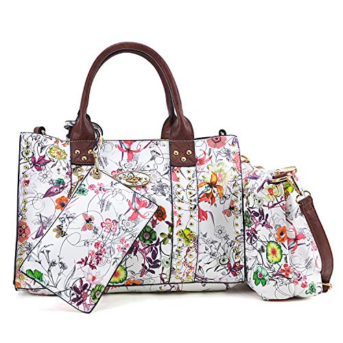 Women Vegan Leather Handbags Fashion Satchel Bags Shoulder Purses Top Handle Work Bags (3pcs 0620W White Flower New)