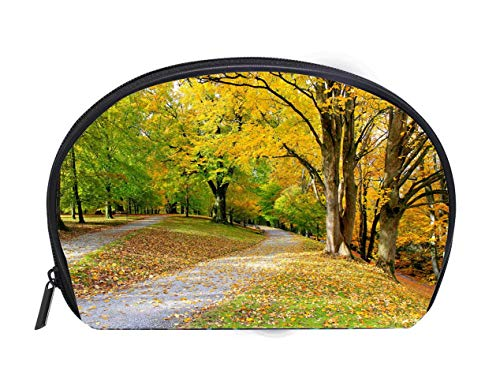 Vienna Gold Leaf - Half-moon Cosmetic Bag Beautiful autumn scene gold colored leaves yellow trees footpath in public park at october - Vienna Austria Travel Cosmetic Case Luxury Makeup Artist Bag