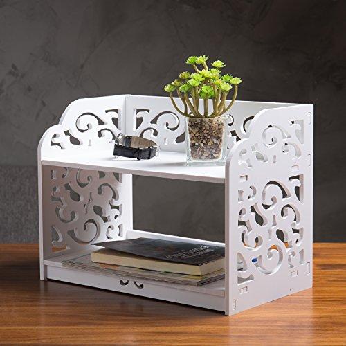 White Wood Vanity Top (White Cutout Scrollwork Design Desktop Bookshelf, Stationery Organizer Shelf)