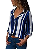 Astylish Womens Tops Summer Button Down Long Sleeve Color Block Stripes Casual Blouses for Wrok Jeans Henley Shirt Large 12 14 Blue White