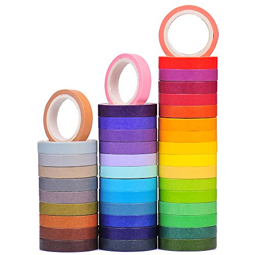40 Rolls Washi Tape Set, Decorative Masking DIY Plain Washi Tapes for Children and Gifts Warpping (MIX)