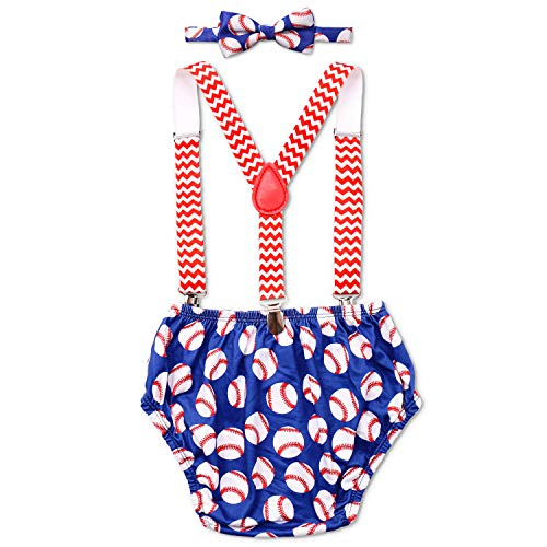 Baseball Cake Smash Outfit Rookie of The Year Outfit Boy First Birthday Bloomers Bowtie Adjustable Y Back Suspenders Strap Clip Costume Diaper Cover