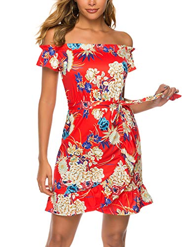 - Sweetnight Womens Off The Shoulder Floral Print Summer Beach Casual Mini Dress Sundress (Red, L)