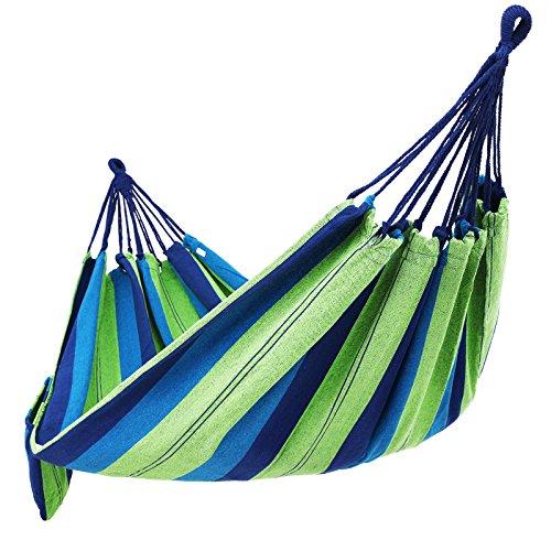 SONGMICS CottonHammock SwingBedforPatio Porch,GardenBackyardforTraveling,Camping,Hiking,BackpackingLoungingHeavy-Duty,Lightweight andPortableIndoor&OutdoorUGDC15L by SONGMICS