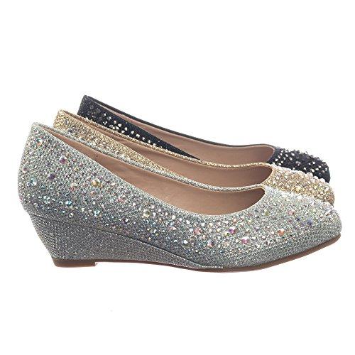 Link Children Girl's Sparkling Glitter Rhinestone Crystal Wedge Dress Pump ()