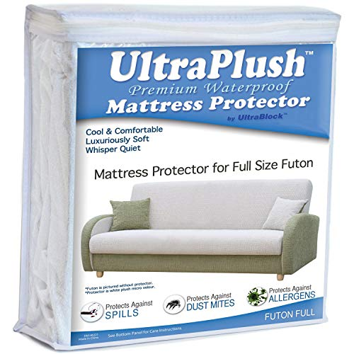 """Ultra Plush 100% Waterproof Mattress Protector, Luxuriously Soft and Comfortable, Protects Against Dust Mites and Allergens, Snug, Fitted Fit for Full Size Futon Mattresses Up to 12"""" Thick"""