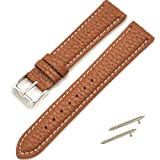 14/16/18/19/20/21/22/24mm Genuine Leather Wristwatch Watch Band Watchband Stainless Buckle by FimKaul (12mm, Brown with white line)