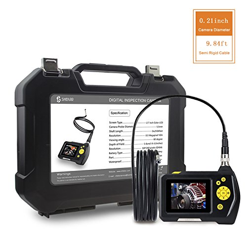 Digital Inspection Snake Camera with 0.21inch Lens, 2.7 inch Color Screen, 9.84ft Semi-Rigid Tube, Function of Zoom, Waterproof Handheld Endoscope Borescope by SHEKAR