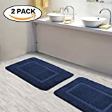 Super Soft 100% Microfiber Bath Mat 2 Pack Tufted Bathroom Rugs with TPR Rubber Anti-Skid Bottom Extra Absorbent, Double Border Design by FlamingoP Navy 17' x 24'