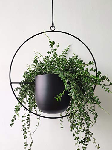 RISEON Boho Black Metal Plant Hanger,Metal Wall and Ceiling Hanging Planter, Modern Planter, Mid Century Flower Pot Plant Holder, Minimalist Planter for Indoor Outdoor Home Decor (Style A) (Planters Metal Indoor)