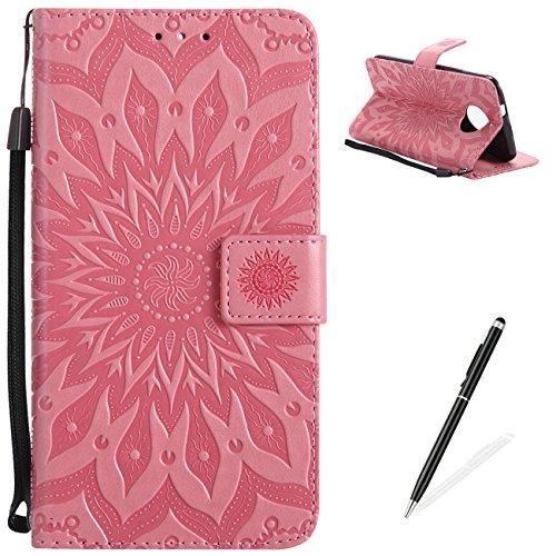 Funda para Moto G6, MAGQI Suave PU Cuero Cartera Cubierta Repujado Mandala Girasol Stand Función Flip Libro Estilo Protección Shell con Imán Cierre Ranuras de Tarjeta-Rojo Rosa