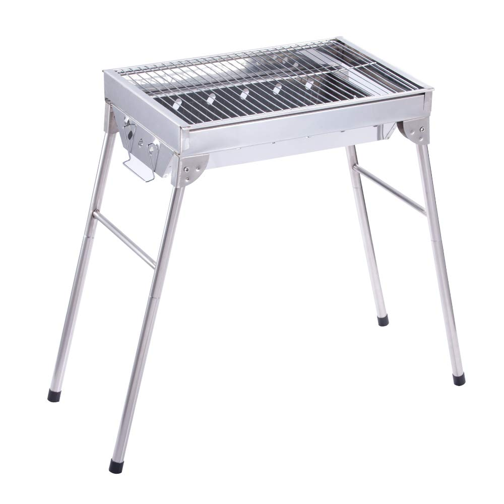 ALEKO GBBQ580 Lightweight Portable Foldable Stainless Steel Charcoal Barbecue Grill