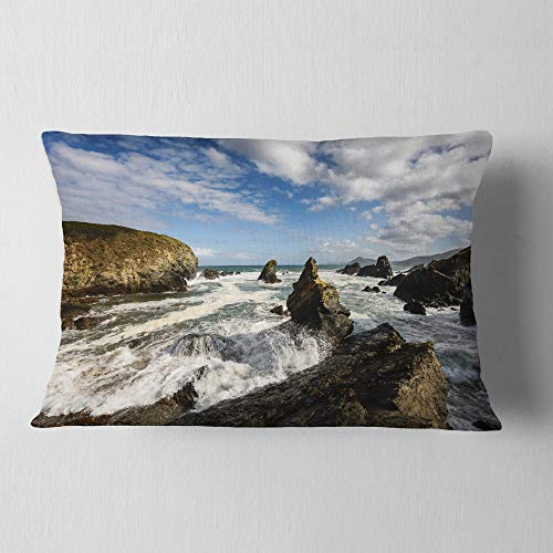 Designart CU9419-12-20 Blue Atlantic Coast in Spain' Seashore Photo Throw Lumbar Cushion Pillow Cover for Living Room, Sofa, 12 in. x 20 in, Pillow Insert + Cushion Cover Printed on Both Side by Designart