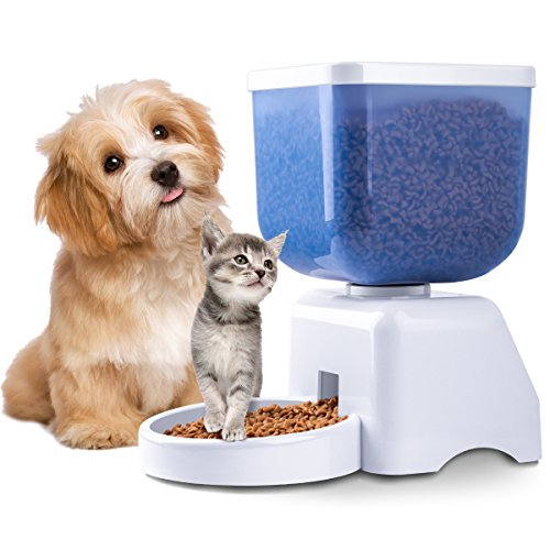 [2018] Automatic Pet Feeder Upgrade Timer Food Dispenser for Dogs Cats with Voice Recording Big LCD Panel & 5L Large Capacity Storage by URmates
