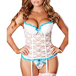 JYC Womens Sexy Nightwear with G-String Set See-Through Deep V Neck Hollow Lace up Net Plunging Bustier Lingerie Set