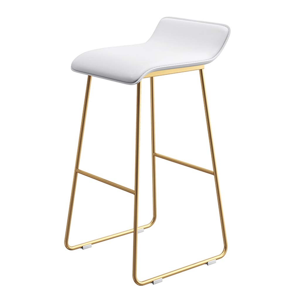 Seat height 65cm Fashion Wrought Iron Bar Stool   Kitchen Breakfast High Chair   with Backrest and gold Bracket Legs   - White Faux Leather Design (Sitting Height  65 70   75CM)