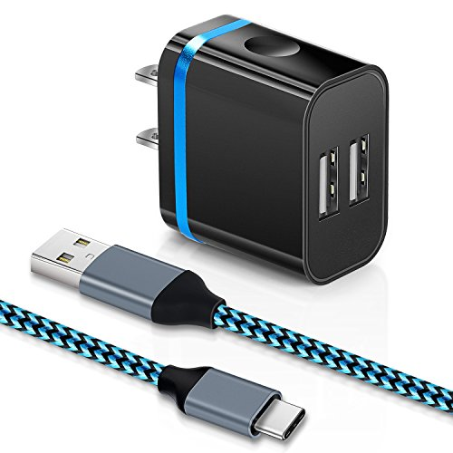 Wall Charger Aupek Dual Usb Port Travel Adapter With 6Ft Heavy Duty Usb C A Data Sync Cord Charger Cable For Samsung S8 S8 Plus Chrome Book  Lg Nexus 5X 6P And More  Blue