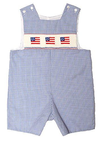 Anavini American Flag Blue Smocked Shortall - Baby Boy Size 9M