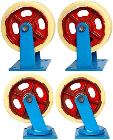 4つのオーバーウェイト鉄芯ナイロンキャスター、ユニバーサルホイール、耐摩耗性トロリーホイール、サイレントステアリングホイール、高荷重ホイール、ファミリートロリーホイール